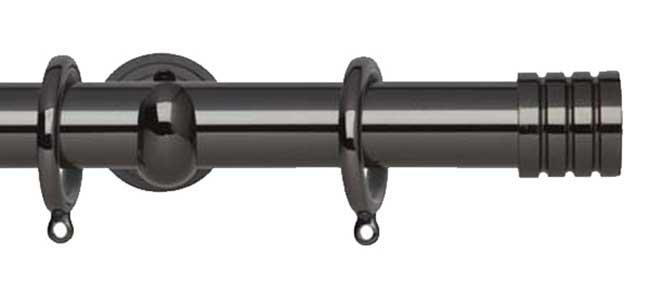 28mm Neo Stud Black Nickel Curtain Pole 240cm
