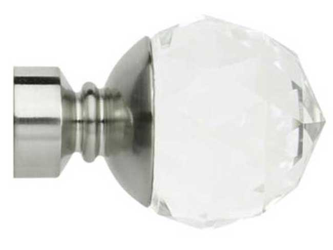 Rolls 28mm Neo Stainless Steel Faceted Ball Clear Finials