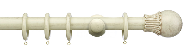 Painted Wooden Curtain Poles With Matching Hold Backs
